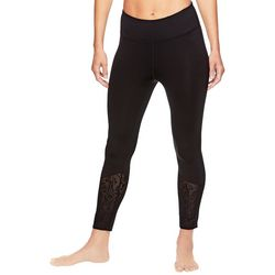 Gaiam Womens Solid Lace Panel High Rise Leggings
