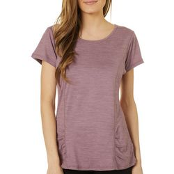 Gaiam Womens Solid Energy Keyhole Back Short Sleeve Top