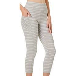 Gaiam Womens Striped Knit Capri Leggings