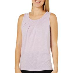 Gaiam Womens Solid Pleated Front Jersey Slub Tank Top
