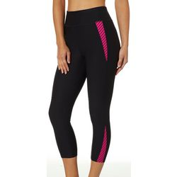 Spalding Womens Peekaboo Stripe Panel Crop Leggings
