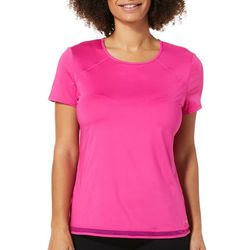 Spalding Womens Solid Mesh Trim Short Sleeve Top
