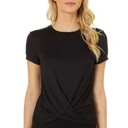Spalding Womens Solid Twist Front Top
