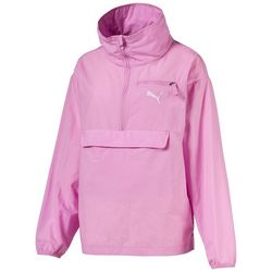 Puma Womens Solid Logo Zipper Placket Windbreaker Jacket