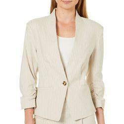 Verve Womens Striped Linen Ruched Sleeve Blazer