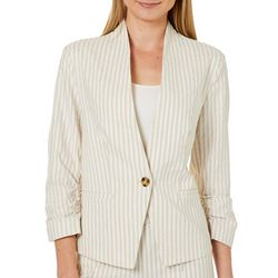 Verve Womens Ruched Sleeve Linen Striped Blazer