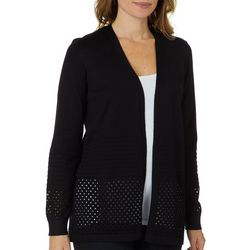 89th & Madison Womens Eyelet Open Front Cardigan