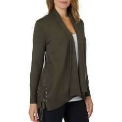 89th & Madison Womens Lace-Up Waterfall Cardigan