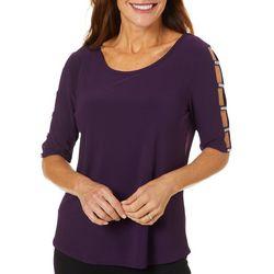 89th & Madison Solid Jewel Embellished Lattice Sleeve Top