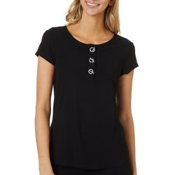 Love Scarlett Solid Toggle Embellished Short Sleeve Top