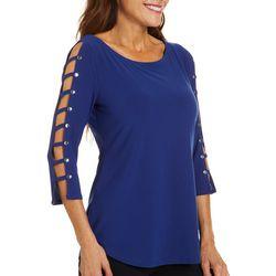 Love Scarlett Solid Stud Embellished Lattice Sleeve Top
