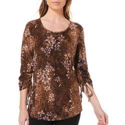 Sami & Jo Womens Floral Cheetah Ruched Sleeve Top