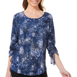 Sami & Jo Womens Floral Faux Lace Ruched Sleeve Top