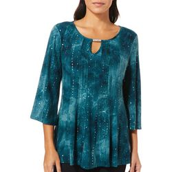 Sami & Jo Womens Bar Neck Keyhole Gomez Top