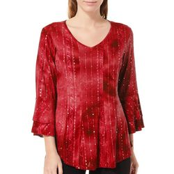Sami & Jo Womens Ruffled V-Neck Sequin Gomez Top