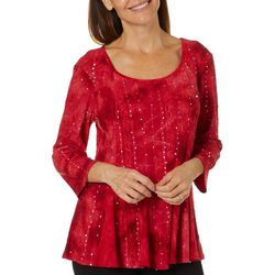 Sami & Jo Womens Tunic Pleated Fiesta Top