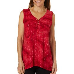 Sami & Jo Womens Embellished Fiesta Sleeveless Keyhole Top