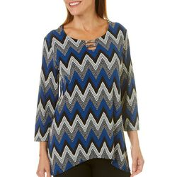 Sami & Jo Womens Chevron Puff Print Sharkbite Hem Top