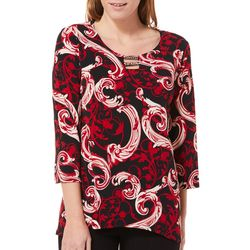 Sami & Jo Womens Scroll Print Bar Neck Top