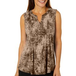 Sami & Jo Womens Embellished Snakeskin Print Sleeveless Top