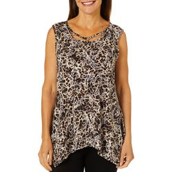 Sami & Jo Womens Leopard Puff Print Sleeveless Top