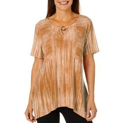 Sami & Jo Womens Textured Stripe Keyhole Top