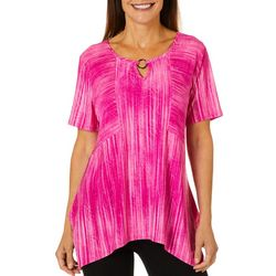 Sami & Jo Womens Textured Stripe Keyhole Top