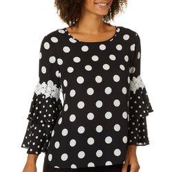Sami & Jo Womens Dot Print Ruffled Bell Sleeve Top