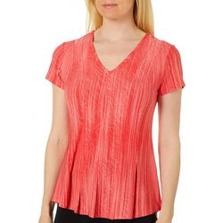 Sami & Jo Womens Textured Stripe Pleated Short Sleeve Top
