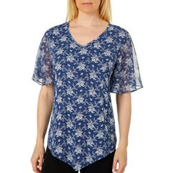 Sami & Jo Womens Floral Puff Print Short Sleeve Top