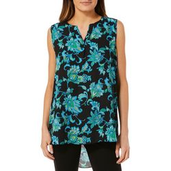Sami & Jo Womens Floral Print Notch Neck High-Low Top