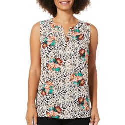 Sami & Jo Womens Painted Floral Sleeveless Top