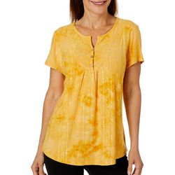 Sami & Jo Womens Embellished Fiesta Split Neckline Top