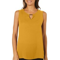Sami & Jo Womens Solid Bar Neck Keyhole Top