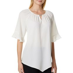 Sami & Jo Womens Solid Embellished Keyhole Ruffle Sleeve Top