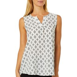 Sami & Jo Womens Diamond Print Sleeveless Top