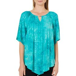 Sami & Jo Womens Bar Neck Keyhole Fiesta Short Sleeve Top