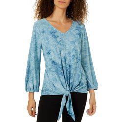 Sami & Jo Womens Textured Print Tie Front Top