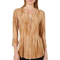 Sami & Jo Womens Stripe Textured Scroll Henley Top