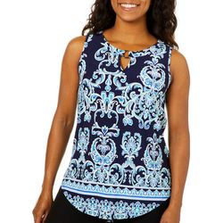 Sami & Jo Womens Scroll Print Ring Neck Sleeveless Top