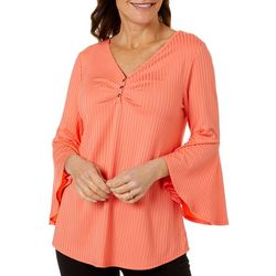 Sami & Jo Womens Bell Sleeve Ribbed Button Top