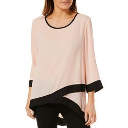 Sami & Jo Womens Contrast Trim Asymmetrical Top