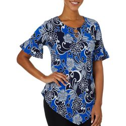 Sami & Jo Womens Floral Puff Print Ring Neck Top