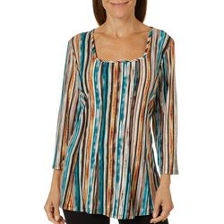 Sami & Jo Womens Stripe Square Neck Top