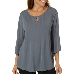 Sami & Jo Womens Solid Keyhole Bell Sleeve Top