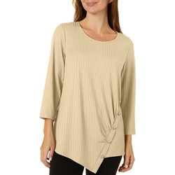 Sami & Jo Womens Solid Ribbed Button Detail Top