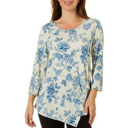 Sami & Jo Womens Floral Print Ribbed Button Detail Top