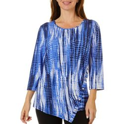 Sami & Jo Womens Graphic Print Ribbed Button Detail Top