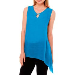 Sami & Jo Womens Beaded Neck Shark Bite Sleeveless Top