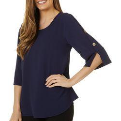 Sami & Jo Womens Button 3/4 Sleeve Top